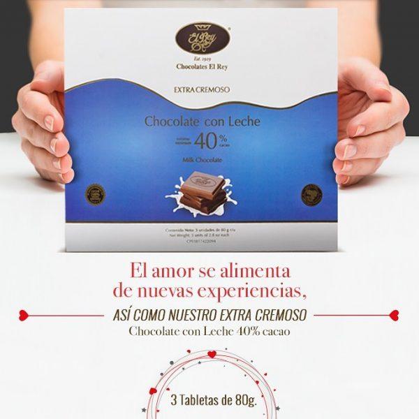 En el Mes del Amor y la Amistad, Chocolates El Rey le invita a probar el Nuevo Chocolate con Leche EXTRA CREMOSO, 40% Cacao